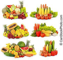 frutas legumes, isolado, ligado, w