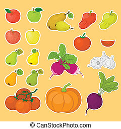 frutas, legumes, jogo