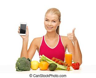 frutas, legumes, mulher,  smartphone