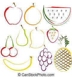 frutas, linha, arte