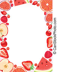 frutas rojas, y, bayas, marco