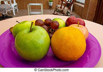 frutas, una, el, bandeja, jardin, en
