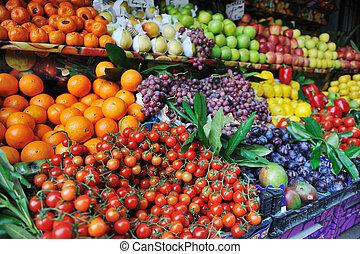 frutas vegetais frescos, em, mercado