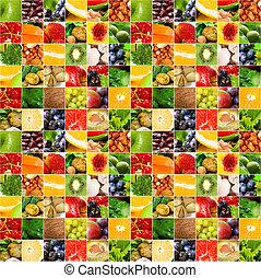 frutas, vegetal, grande, colagem
