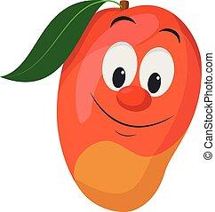frutas, vetorial, ilustração, character., caráteres, engraçado, collection:, manga, sorrindo