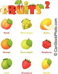 frutas, vetorial, jogo, ícone