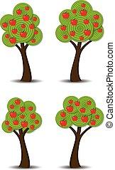 frutas, vetorial, maçã, árvores