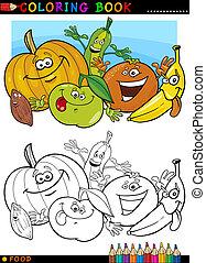 frutas y vehículos, para, colorido