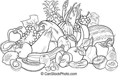 frutas y vehículos, para, libro colorear