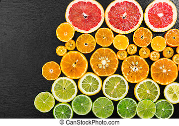 frutta, agrume, fondo., cima, vista.