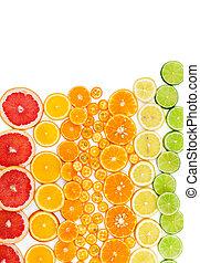frutta, agrume, fondo, con, pompelmo, arancia, mandarino, limone, calce, e, kumquat.