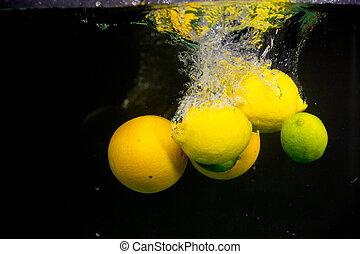 frutta, cadere, in, il, acqua