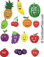 frutta, carattere, cartone animato