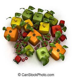 frutta, composizione, cubico