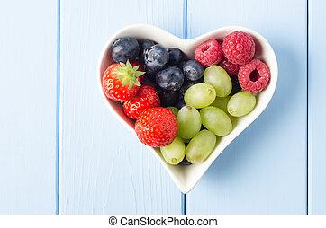 frutta, cuore, alto