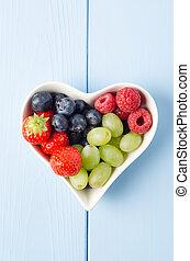 frutta, cuore, dal di sopra