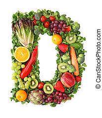 frutta, e, verdura, alfabeto