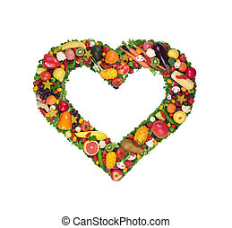 frutta, e, verdura, cuore