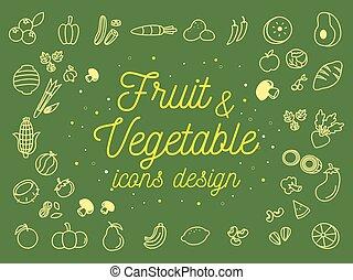 frutta, e, verdura, icone, disegno, set.vector, illustrazione