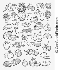 frutta, e, verdura, icone, schizzo