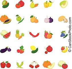 frutta, e, verdura, icone, set, isometrico, stile
