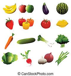 frutta, e, verdura, icone