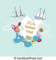 frutta estate, fondo, vetro cocktail