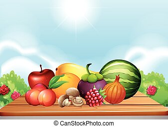 frutta fresche verdure, su, tavola
