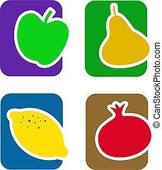 frutta, icona, set