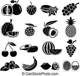 frutta, icona, vettore, set