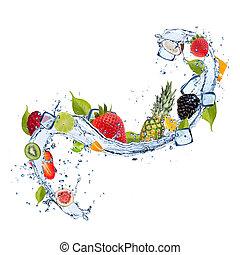 frutta, in, acqua, schizzo, bianco, fondo