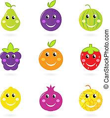 frutta, isolato, set, icona, sorridente, cartone animato, caratteri, bianco