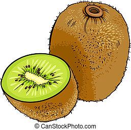 frutta kiwi, cartone animato, illustrazione