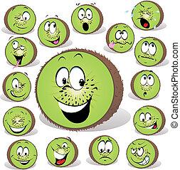 frutta kiwi, cartone animato