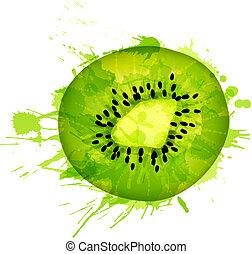 frutta kiwi, fetta, fatto, di, colorito, schizzi, bianco,...
