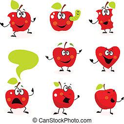 frutta, mela, caratteri, rosso, divertente