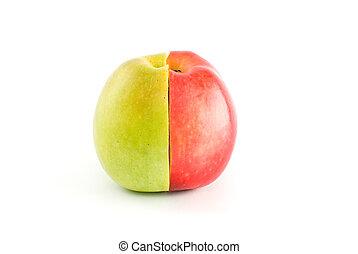 frutta, mele, forma, verde rosso, intero, mezzo