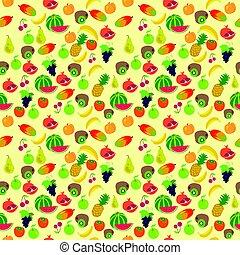 frutta, modello, su, uno, sfondo giallo