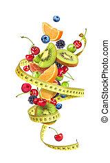 frutta, nastro, fondo, misura, involvere, bianco