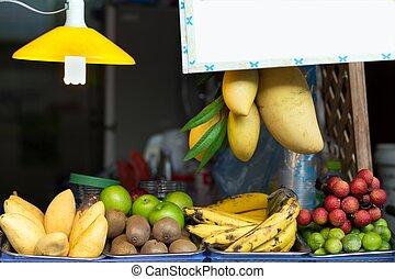 frutta, negozio, bancarella