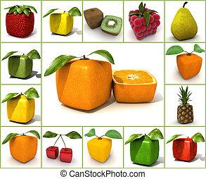 frutta, originale, collage