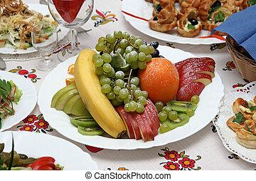 frutta, piatto, pietanza