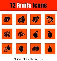 frutta, set, icona