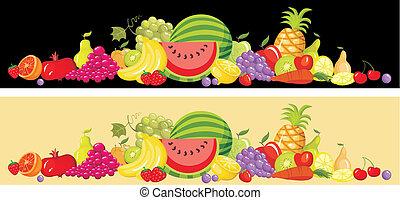 frutta, set, scheda