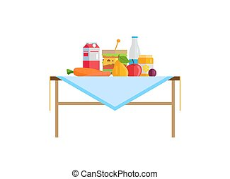 frutta, tavola, verdura, panino, latte