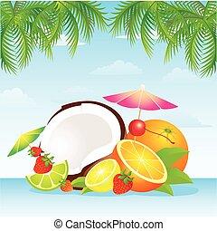frutta tropicale, cesto