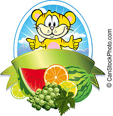 frutta tropicale, etichetta