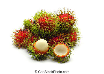 frutta tropicale, rambutan, bianco, fondo