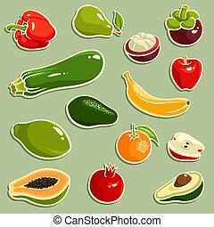 frutta verdure, vettore, set