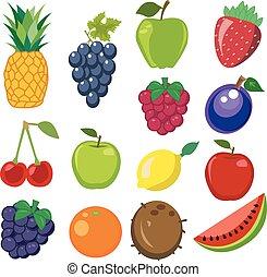 frutta, vettore, set, illustrazione
